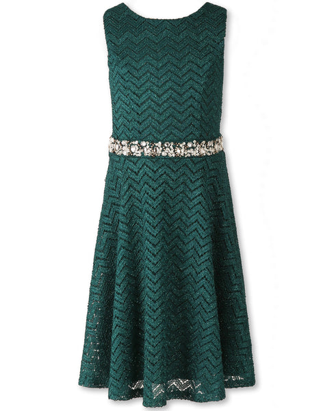Designer Sequence Dress in Emerald Green