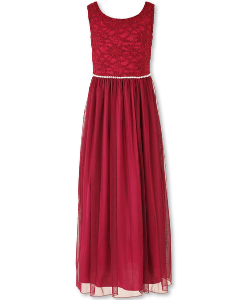 Designer Sequence Dress in Ruby Burgundy