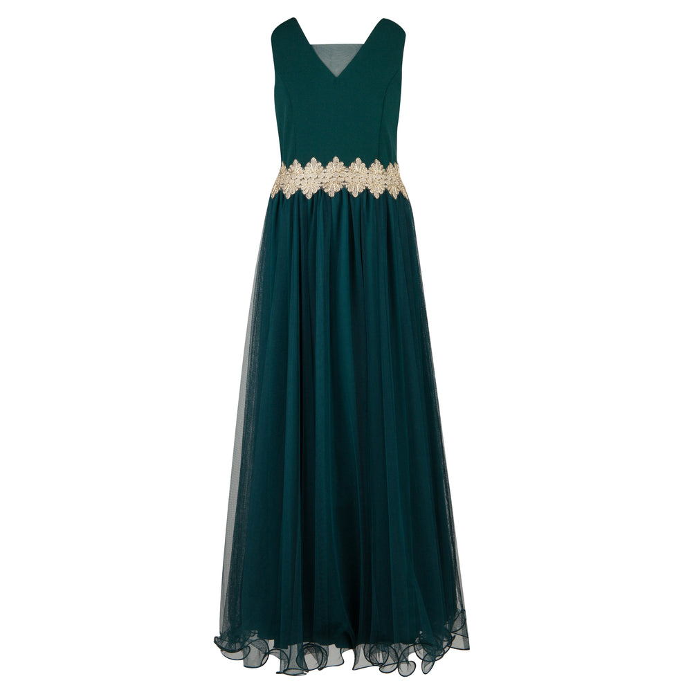 Dark Green and Gold Graduation Dress