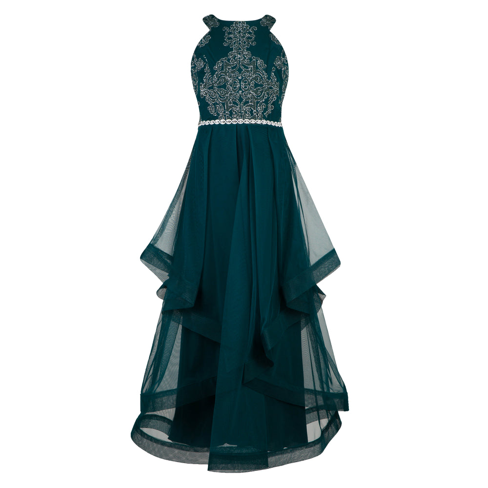 Forest Green and Silver Graduation Dress