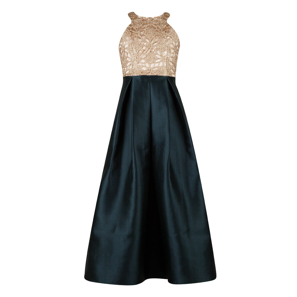 Emerald Green and Gold Graduation Dress