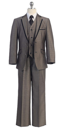 5 Piece Suit in Beige with Black Trim