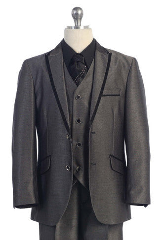 5 Piece Suit Silver with Black Trim