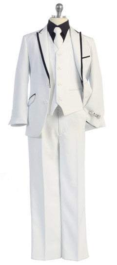5 pc Suit White with Black Trim