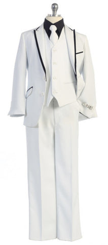 5 Piece Suit White with Black Trim
