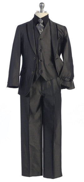 5 pc Suit in Grey with Black Trim