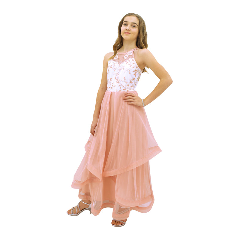 Paparazzi Designer Sequence Dress in Blush Pink and White