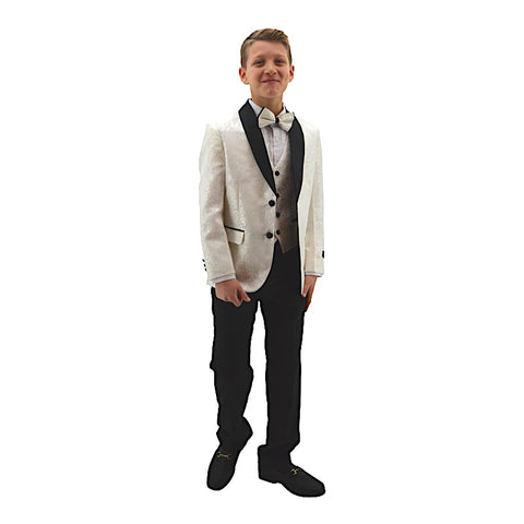 Ronaldo Designer White and  Black Trim Tuxcedo Suit