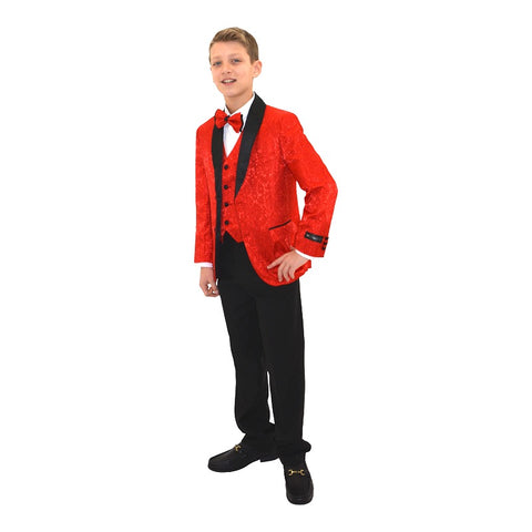 Ronaldo Designer Red and  Black Trim Tuxcedo Suit