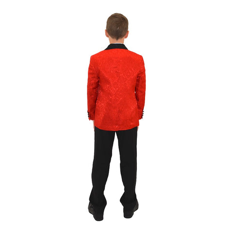 Ronaldo Designer Red and Black Trim Tuxedo Suit