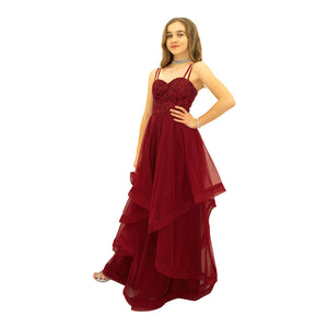 Couture Burgundy Sequins Full length Gown