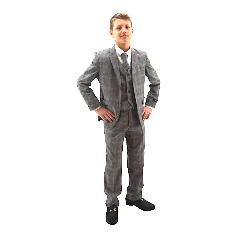 Ronaldo Sand Plaid Skinny Designer Slim 5 pc Suit