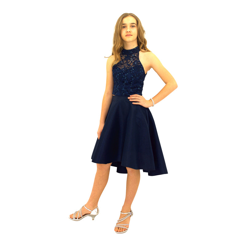 Paparazzi Couture 2 Piece Sequence High Low dress in Navy