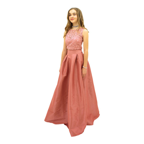 Paparazzi Couture 2 Piece Sequence Full length dress in Blush Pink