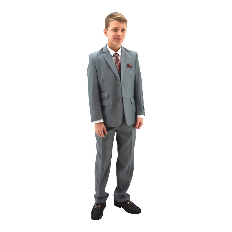 Grey Designer Slim 5 pc Suit with Paisley Vest