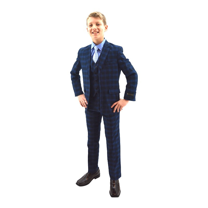 Ronaldo Black and Electric Blue Plaid Skinny Designer Slim 5 pc Suit