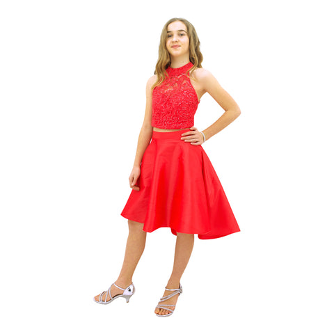 Paparazzi Couture 2 Piece Sequence High Low dress in Coral