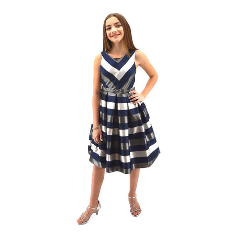 Paparazzi Designer Navy and Silver Ceveron Stripe Dress