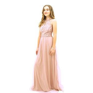 Paparazzi Couture Sequence Full length dress in Blush Pink