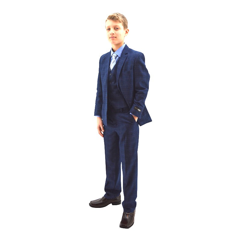 Ronaldo Blue Wool-Blend Plaid Skinny Designer 5 pc Suit