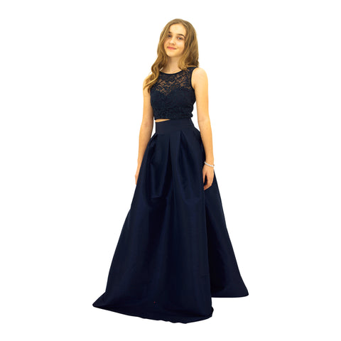 Paparazzi Couture 2 Piece Sequence Full length dress in Midnight Blue