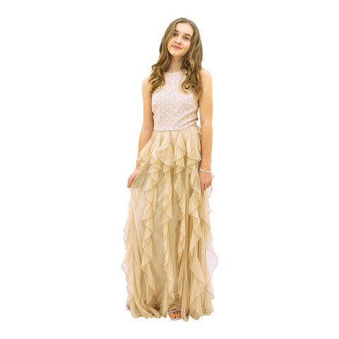 Paparazzi Designer Sequence Gold with Ruffle Bottom Dress