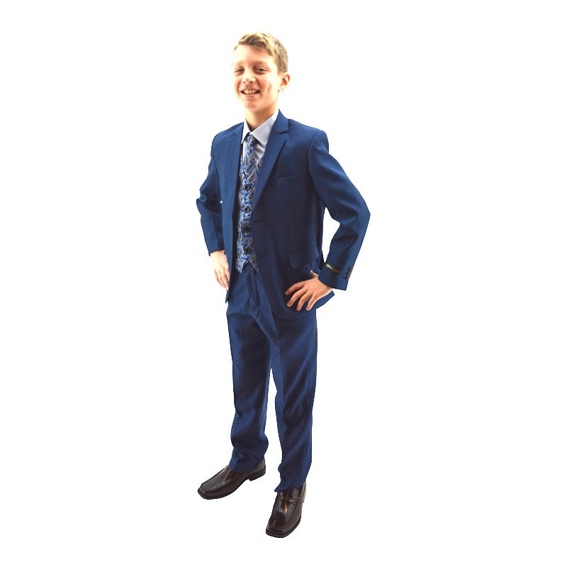 Blue Designer Slim 5 pc Suit with Paisley Vest