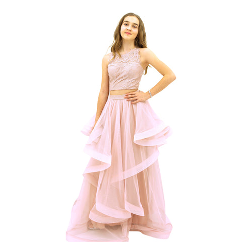 Paparazzi Couture 2 Piece Sequence Full length dress in Powder Pink