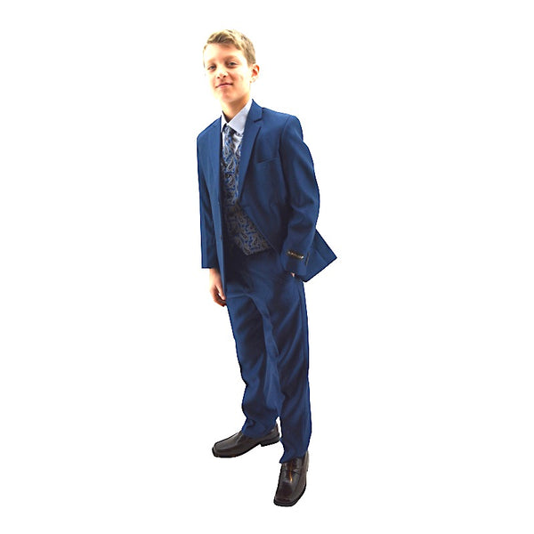 Ronaldo Zinc Blue Designer Skinny 5 PC Suit with paisley Vest