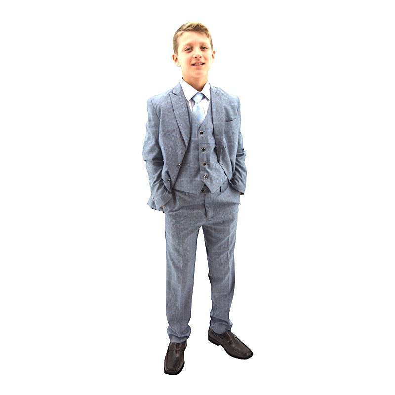 Designer Blue Plaid Double Breasted Boys Suit