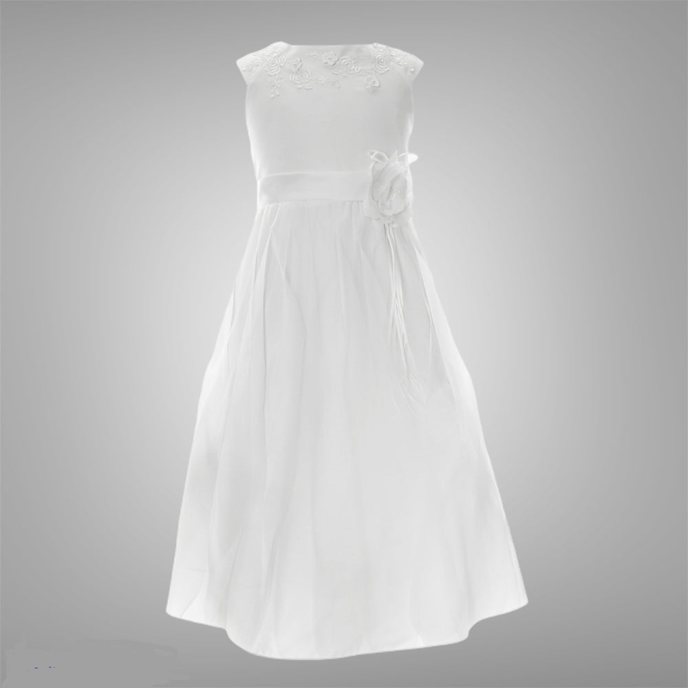 White Vintage Satin and Tulle Bottom Dress