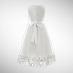Designer White  Satin Flower Crested Bodice  Dress