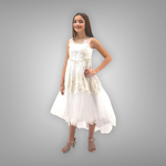 Paparazzi White Satin Communion Dress w/ Illusion Neckline & Embellished Organza Overlay