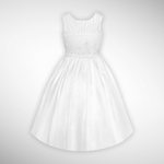 White Communion Beaded Satin Bodice w/ Organza Skirt