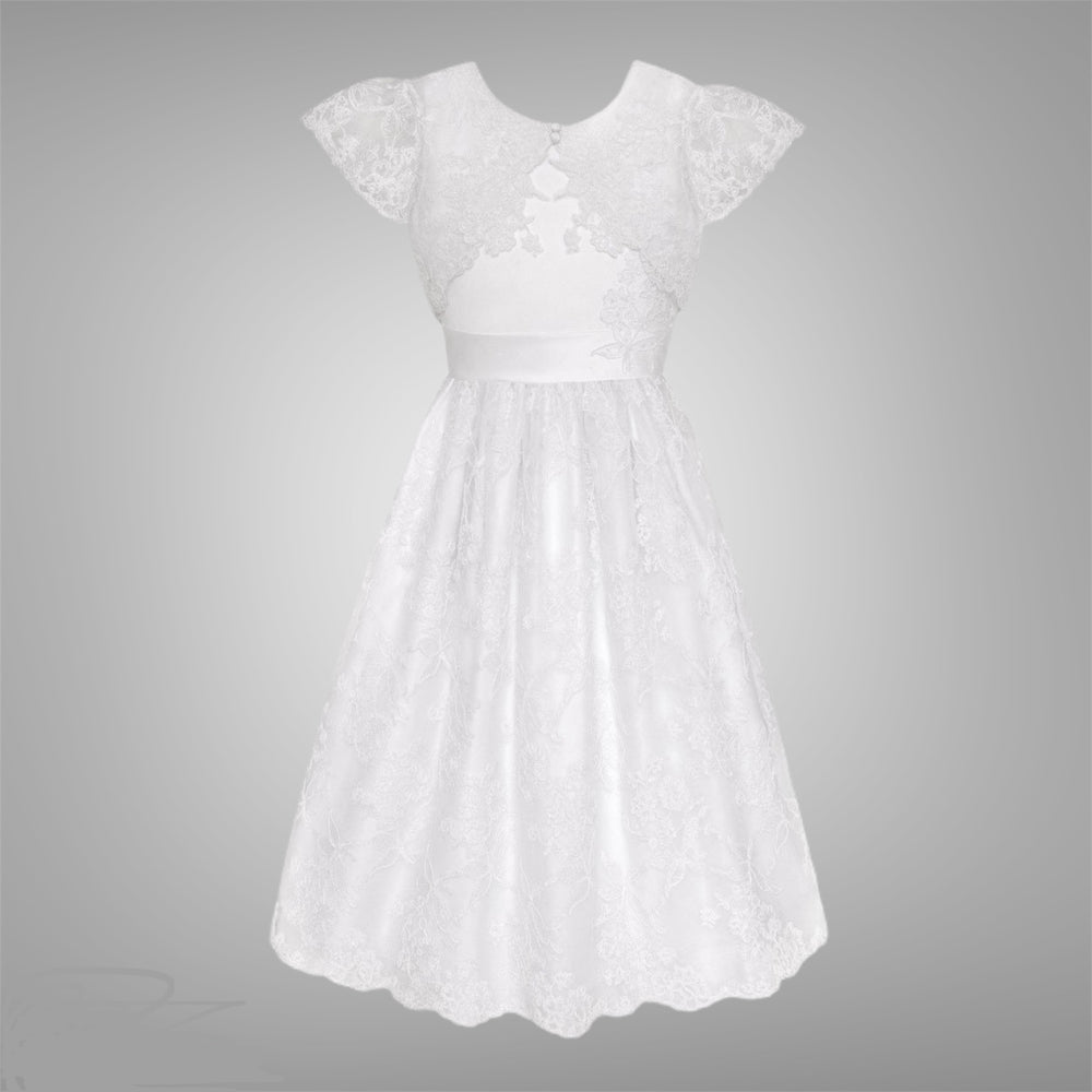 White Cord Embroidered Communion Dress w/ Bolero