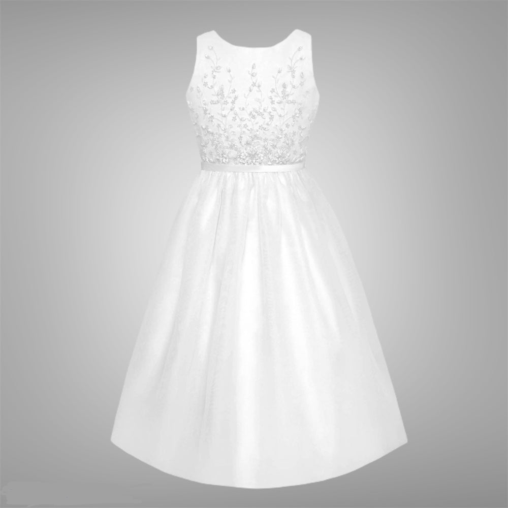 White Satin A-Line Dress Beaded Satin Bodice Communion Dress