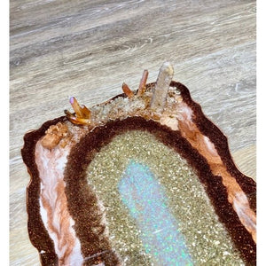 Geode Resin Art Tray with Aragonite Star Cluster