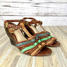 Load image into Gallery viewer, Frye Colette Braided T Strap Leather Wedges