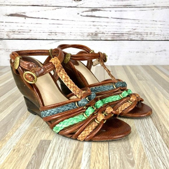 Frye Colette Braided T Strap Leather Wedges