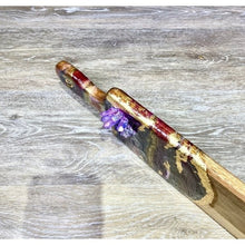 Load image into Gallery viewer, Geode Art Wood Cutting Board Purple Quartz Points