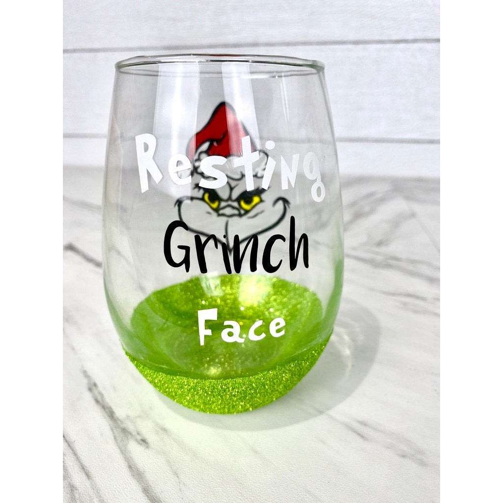 Resting Grinch Face 20.5 oz Stemless Wine Glass with Grinch Green Glitter Bottom - Grinch Lover Gifts - Christmas Gifts - Made to Order
