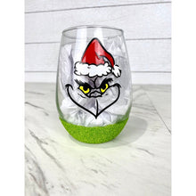 Load image into Gallery viewer, Resting Grinch Face 20.5 oz Stemless Wine Glass with Grinch Green Glitter Bottom - Grinch Lover Gifts - Christmas Gifts - Made to Order