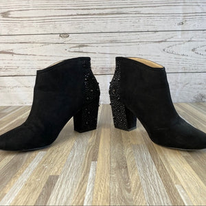 Zara Black Suede Ankle Booties Embellished Size 9