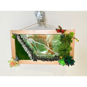 Succulent Preserved Moss Epoxy Resin Geode Inspired Wall Art - Swarovski Crystal Accents - Butterfly - Crystals