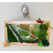 Load image into Gallery viewer, Succulent Preserved Moss Epoxy Resin Geode Inspired Wall Art - Swarovski Crystal Accents - Butterfly - Crystals
