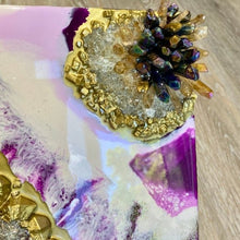 Load image into Gallery viewer, Geode Resin Art on Wood with Crystal Accents