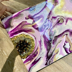 Geode Resin Art on Wood with Crystal Accents