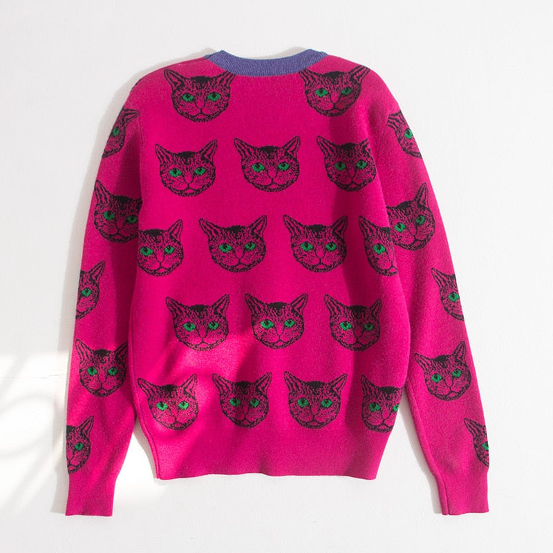 Harajuku Cat Print Knitted Sweaters
