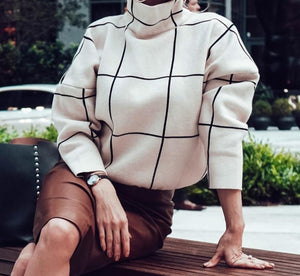 Plaid Casual Turtleneck Sweater
