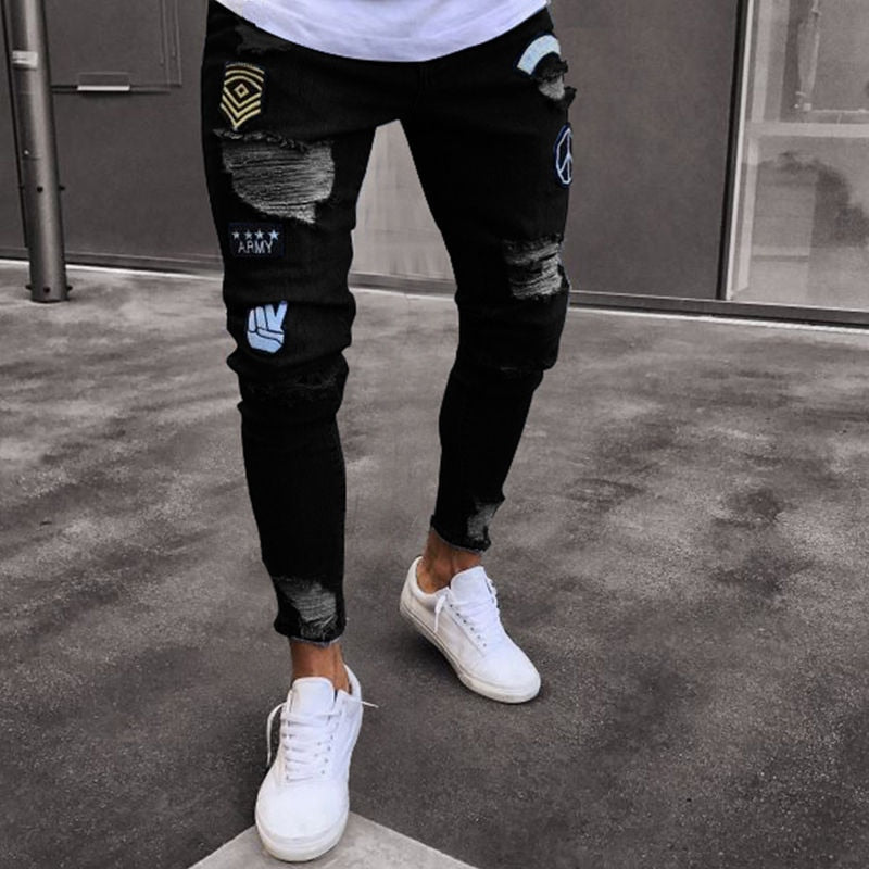 men's hole embroidered jeans Slim men trouser Casual Thin Summer Denim Pants